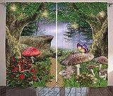 Wzjxzsynl Cortinas de dormitorio Tamaño total 140x160cm(W55xH63inch) Selva setas mariposas Sombreado aislamiento térmico y reducción de ruido impresión tejido de poliéster (2 paneles) oficina hotel es