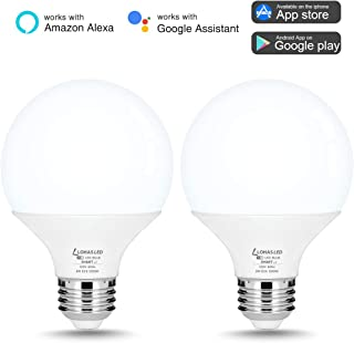 G25 Smart Bulbs, LOHAS G25 LED Globe Light Bulbs, Compatible with Alexa Google Home Assistant, Dimmable Daylight 9W WiFi Vanity Round Light Bulb 60W Equivalent 800LM for Bathroom Makeup Mirror, 2Pack