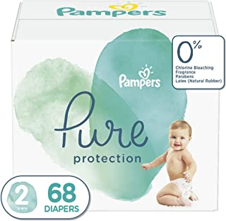 Diapers Size 2 (68 Count) - Pampers Pure Disposable Baby Diapers, Hypoallergenic and Unscented Protection, Super Pack