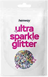 Hemway Silver Holographic Mixed Multi Chunky Glitter Purpose Dust Powder Arts Crafts Decoration Weddings Flowers Cosmetic ...
