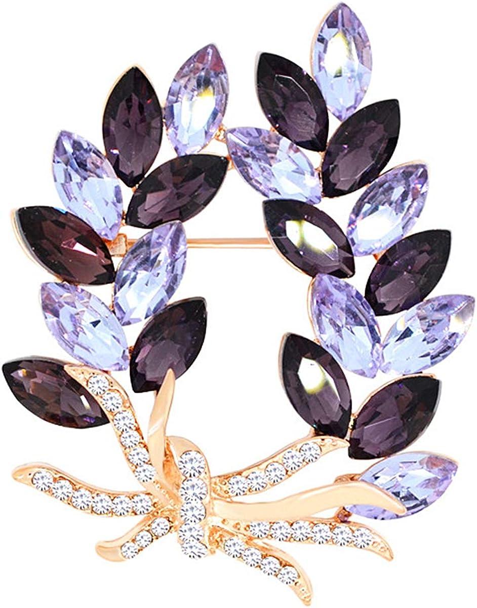 Merdia Brooches Pin Flower Brooche Created Crystal Brooch-Purple