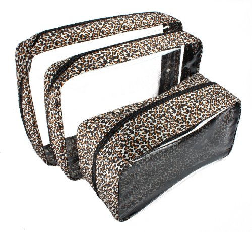 Packies Zip Top Packing Cubes / Cosmetic Bags - Leopard - Set of 3 (Microfiber - Large)