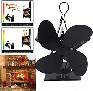 4 Blades Heat Powered Stove Fan Fireplace Fan for Home Wood,Log Burning,Fireplace Circulating Warm Air Saving Fuel - Eco Friendly (Black)