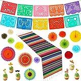 Cinco De Mayo Decorations 45 PCS, Fiesta Party Supplies Mexican Party Decorations, Banner, Pom Poms, Paper Fans, Serape Table Runner, Cupcake Toppers, Cinco De Mayo Decor Set