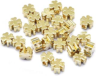 Cheriswelry 10pcs Real 18k Gold Plated Metal Clover Beads Spacers Long-Lasting Tiny Brass Lucky Four Leaf Clover Loose Bea...