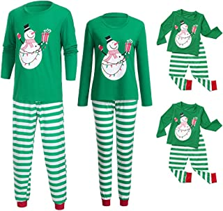 Holiday Christmas Pajamas Set Mommy Daddy & Me Green Xmas Snowman Print Blouse + Strip Pants for Couples and Kids