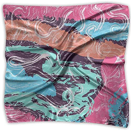 Pañuelo de raso cuadrado Seda artística abstracta colorida como bandanas ligeras Pañuelo para la cabeza Chal para el cuello Pañuelo para la cabeza