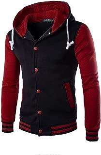Mens Contrast Color Hoodie, Men's Warm Outwear Jacket Autumn Winter Slim Sweatshirt