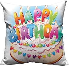 YouXianHome Home DecorCushion Covers for Kids Cartoon Happy Birthday Party Image Cake Candles Hearts Print Comfortable and Breathable(Double-Sided Printing) 31.5x31.5 inch