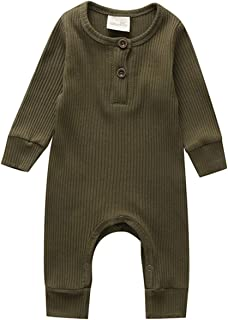 Newborn Infant Unisex Baby Boy Girl Button Solid Romper...