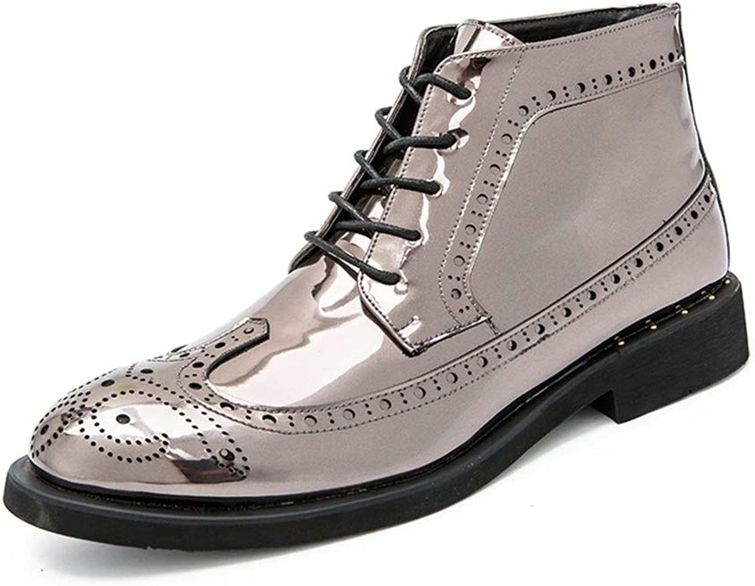 MXL Men's Fashion Ankle Work Boot Casual Autumn and Winter Classic Carved Patent Leather Brogue High Top Boot