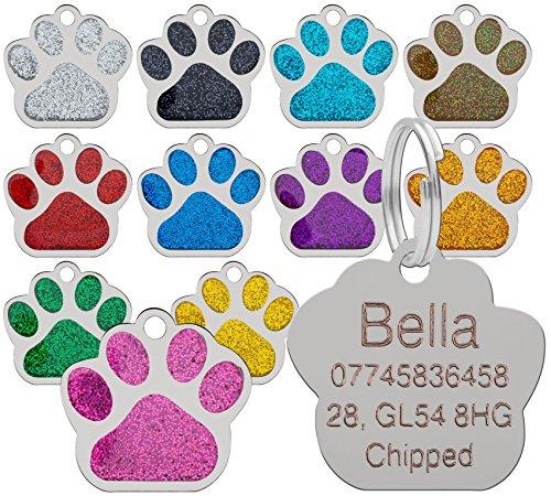 LARRYROO Erkennungsmarke für Hunde und Katzen, personalisierbar, 27 mm, glitzernde Pfotenabdrücke, Türkis