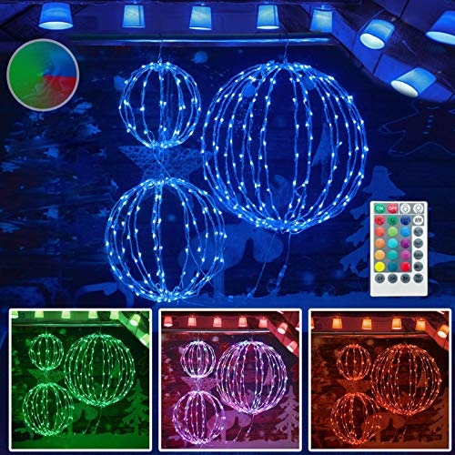 Set of 3 Color Changing Christmas LED Light Balls, Hanging Tree Globe Light with Remote Control Fold Flat Metal Frame Ball Light Indoor Outdoor Christmas Decoration