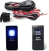 iJDMTOY Spot Lights Blue LED Illuminated ON/OFF Rocker Switch + Two-Output Relay Wire Harness For LED Pod Lights, LED Lightbar, Aftermarket Fog Lights, DRL Driving Lights, etc