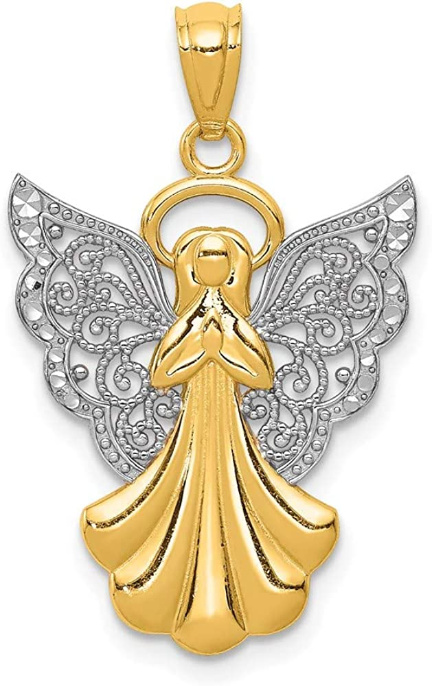 14k Yellow Gold Filigree Angel Pendant Charm Necklace Religious Fine Jewelry For Women Gifts For Her