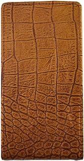 【Happy Smile】OPPO R15 Neo SIMフリー 手帳型 スマホ ケース カバー 本革 牛革 縦型 クロコ ワニ 風柄 ブラウン 保護フィルム付