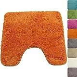 PROHEIM WC-Vorleger Lasalle mit Ausschnitt 45 x 50 cm orange - Rutschfester Badteppich - Weicher und...