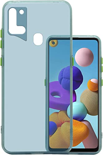 Jkobi Translucent Smoke Flexible Soft Back Case Cover For Samsung Galaxy A21s Light Weight Shockproof Hightlighted Buttons Ice Blue