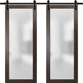 Sliding Double Barn Lite Glass Doors 60 x 84 | Planum 2102 Chocolate Ash | 13FT Rails Hangers Stops Hardware Set | Modern Solid Core Wood Interior Doors