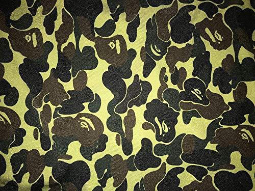 BAPE-101 Designer Inspired APE Green TAN CAMO Spandex Lycra Fabric
