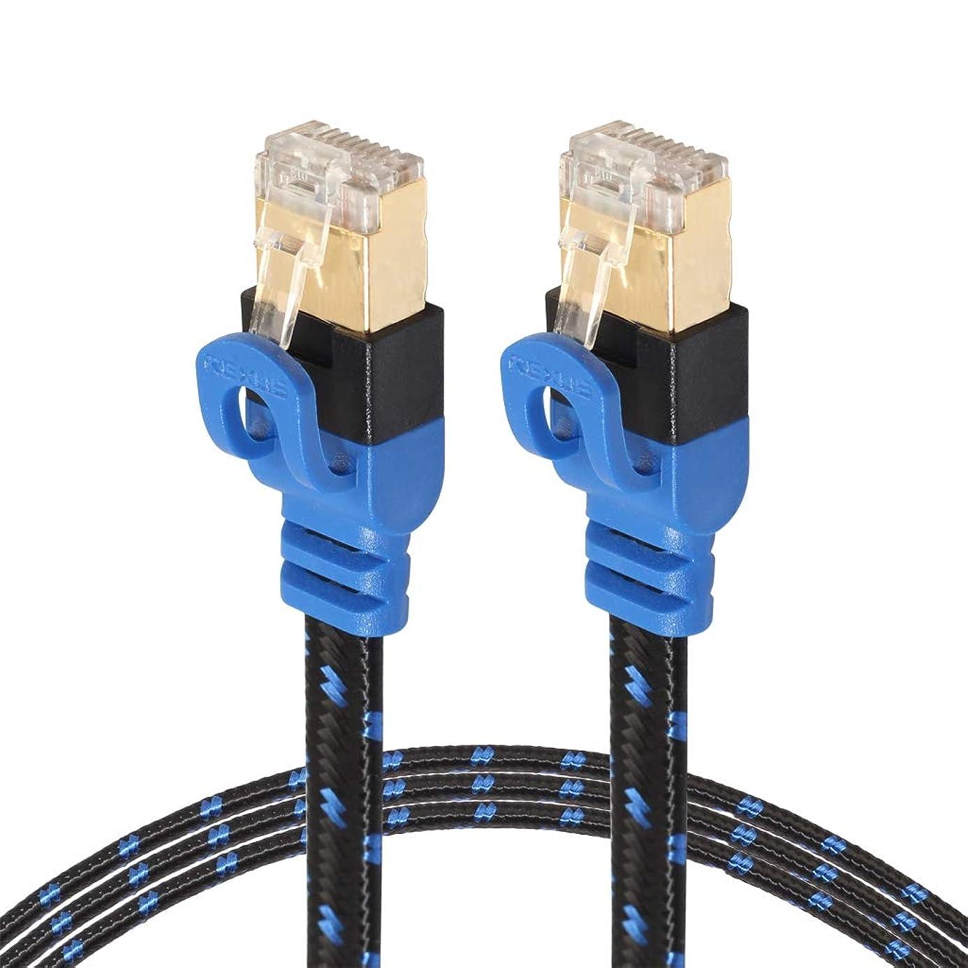 YWH Cable And Tools CAT7-2金メッキCAT7フラットイーサネット10ギガビット2色編組ネットワークLANケーブル、モデムルーターLANネットワーク用、シールド付きRJ45コネクタ付き、長さ:10m