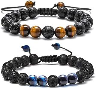 M Mooham Lava Rock Bracelet - 8Mm Lava Rock Bead Anxiety Bracelet, Men Women Stress Relief Yoga Beads Adjustable Aromatherapy Essential Oil Diffuser Healing Bracelets, C-Volcanic Tiger 2