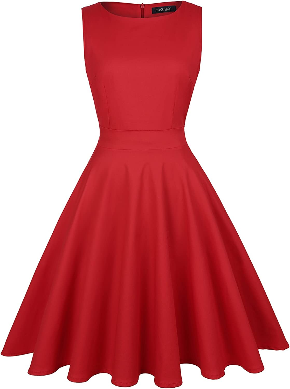 KeZheXi Women's Vintage 1950's Floral Spring Garden Rockabilly Swing Prom Party Cocktail Dress (Red, XXL)