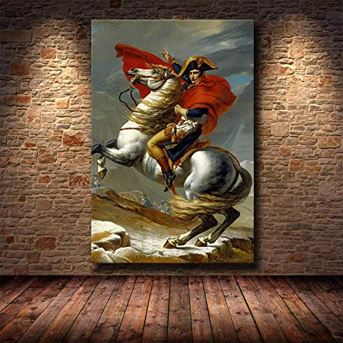 """Famosas Pinturas en Lienzo de Arte en la Pared, Carteles e Impresiones artísticas, Cuadros de Arte en Lienzo, Napoleón clásico Napoleón para Sala de Estar, 60 x 90 cm (23,6""""x 35,4"""")"""