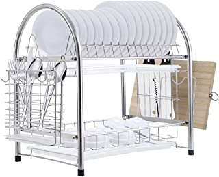 E-Gtong 2 Tier Dish Drying Rack, SUS 304 Stainless Steel Dish Rack, Rustless Dish Storage Drainer with Draining Tray, Utensil Holder and Cutting Board Holder (2 Tier Dish Drying Rack Silver)