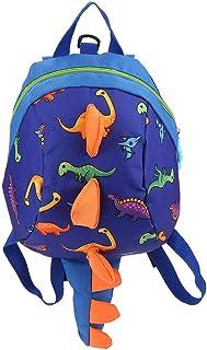Mochila de dinosaurio Mochila para niños, mochila de dibujos animados merienda bolsa de almuerzo mochila de viaje con arnés de seguridad correa para niños en edad preescolar niñas(Dark Blue)