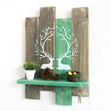 YWH-WH Wall Decoration Creative Mori Country Wood Porch Decorative Racks Retro Partition Key Hook Wall Shelf