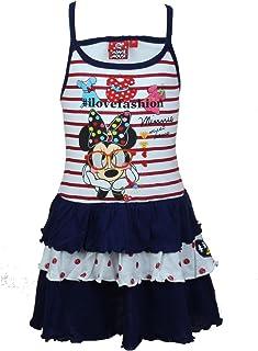 023c463c7a5ae Minnie Robe Fille avec frou frou en coton Sans manches - Bleu Marine - 2 ans