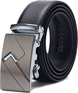 TANGCHAO Men's Leather Belt Automatic Buckle Ratchet Men's Belt Quality Upgrade 35mm Wide Black 115-145cm