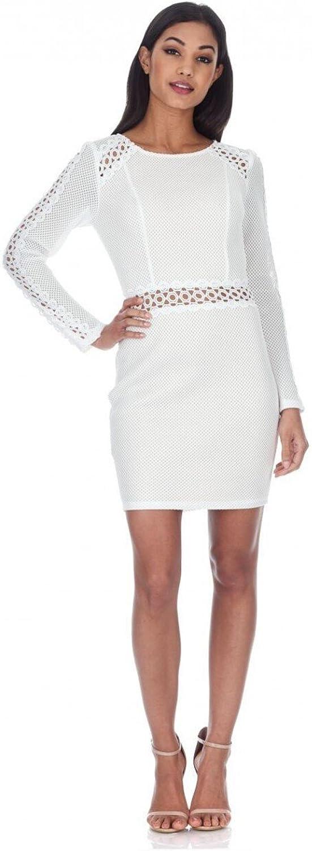 AX Paris Women's Mesh Sleeves with Crochet Detailing Mini Dress