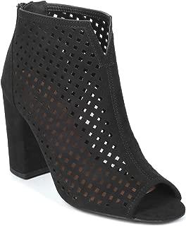 Women Faux Suede Open Toe Perforation Chunky Heel Sandal Bootie - IB17