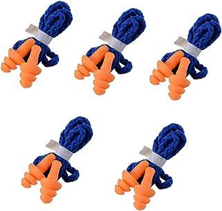 Yizhet 5 pars Tapones para Los Oídos con Cordón,arbol Soft Seguridad suave silicona Tapones auditivos Muffs Proteccion - Reutilizable , azul-naranja