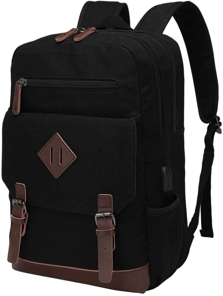Modoker Vintage Backpack for Men Women, Canvas Bookpack Fits Most 15.6 Inches Computer and Tablets, Rucksack Backpack with USB Charging Port, Black