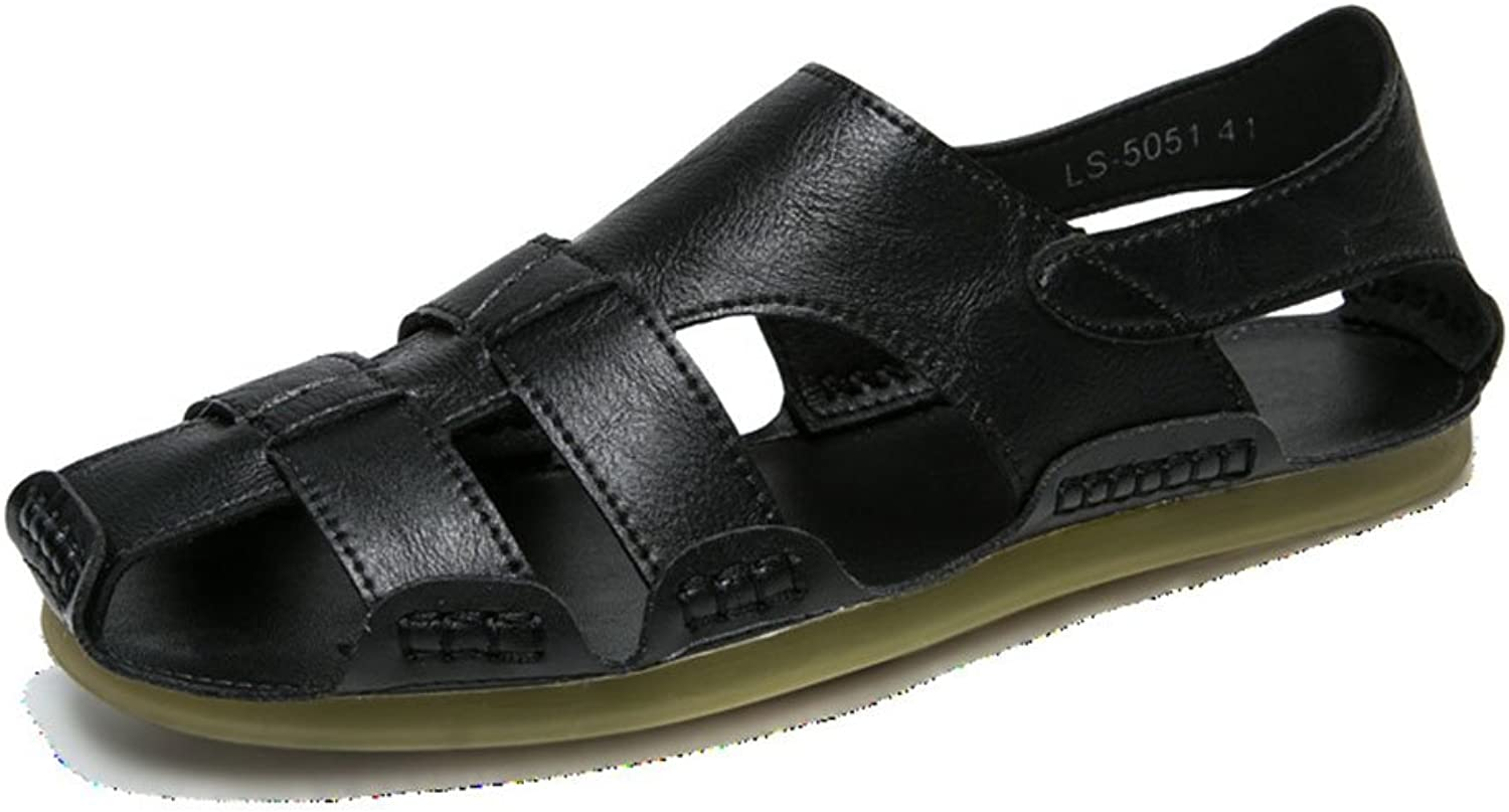 Men's Casual Sandals Men's Sandals Flat Beach Casual Korean Outdoor Leisure Dual-Use Slippers (color   Black, Size   7 US)