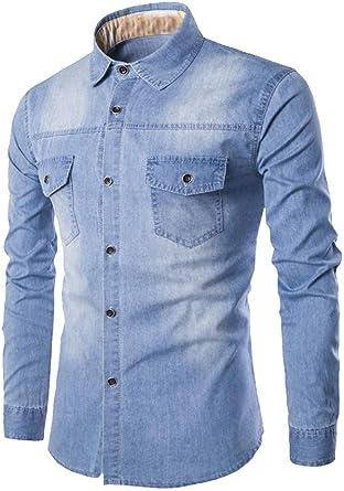 JPDD Mens Long Sleeved Denim Shirt Slim Fit Men's Thick Denim Jean Shirt Button Down Shirt Stretch Cotton Top Mens Oxford Casual Shirt Plain Dress Shirts with Breast Pocket Business Shirts