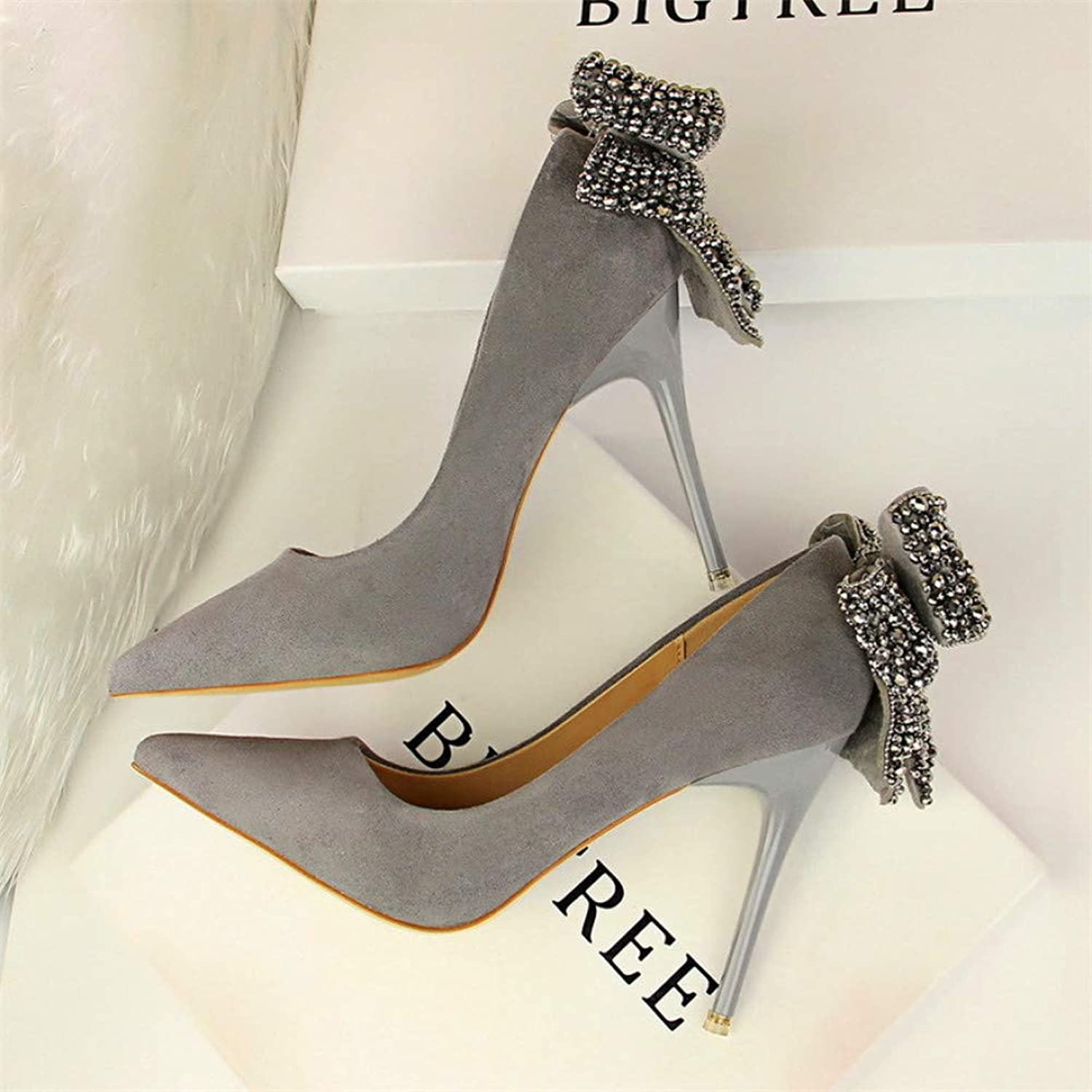 LIHUIYUN shoes Women's Elegant Crystal Butterfly-Knot Shallow Wedding shoes Korean Fashion Women Pumps Solid Flock Pointed Toe High Heels shoes