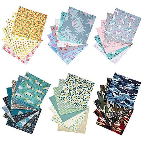 Tela Algodon Telas Patchwork, GuKKK 40 Piezas 25 x 25 cm Tela Algodon para Coser, DIY Floral Telas Patchwork Material, para la Decoración de Costura Artesanal Costura de Acolchado de Scrapbooking