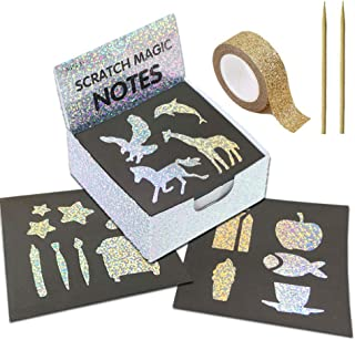 LANGFON 1 Pack Rainbow Scratch Art Note Books - Magic Scratch Off Paper Notebook Set for Kids Art and Craft Activity Book ...