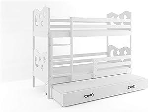Interbeds Lit superposé Miko 3 Places 190x90 avec Matelas sommiers et tiroir-lit en Blanc (Blanc+Blanc)