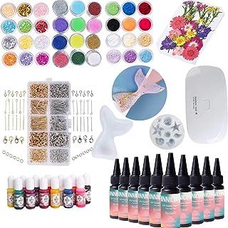 UV Resin Epoxy Glue Gel Tool Set, Powder Dye Pigment Dried Flower Mermaid Silicone Mold For DIY Design Pendants Earrings B...