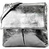 modamoda de - ital Umhänge- / T63 del hombro bolso de cuero Nappa, Color:antracita metalizado