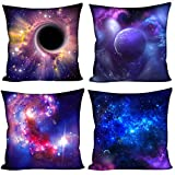 Coloranimal Universe Space Galaxy Housses de Coussin 45,7 x 45,7 cm Couvre-lit Taie d'oreiller Lot de 4, Universe Space Pattern-5, 18inchx18inch