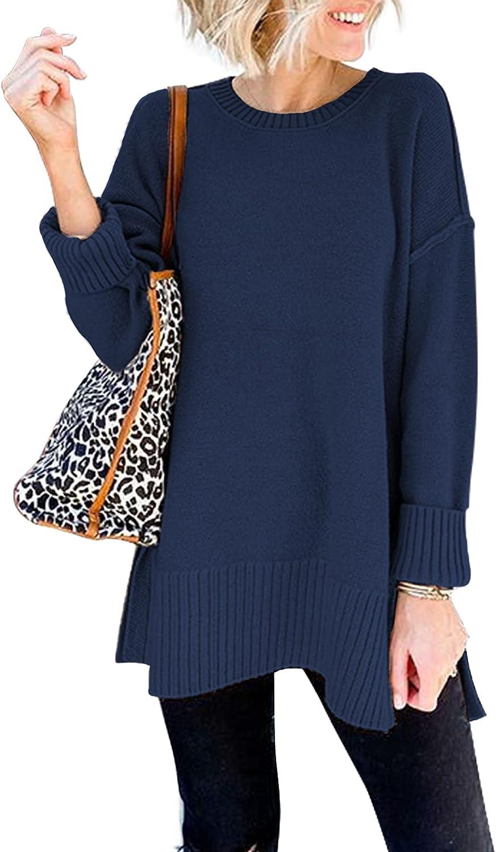 VTSGN Women's Crewneck Sweater Long Sleeve Side Slit Loose Knit Pullover Jumper Tunic Tops