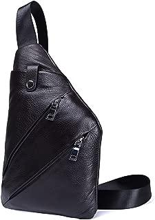 SHANGRUIYUAN-Bags Men's Classic Leather Crossbody Bag First Layer Cowhide Gun Bag Soft Shoulder Leisure Backpack (Color : Black, Size : M)