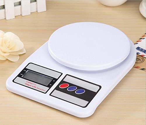 JUTEK Electronic Weighing Machine for Kitchen Digital Weight Machine Food Weighing Scale For Fruits Vegetables Products Electric Weight Digital Weighing Scale Multipurpose White 10 Kg