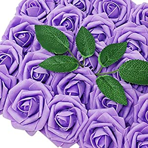 Wrapables Artificial Rose Flower, Real Touch Flowers for DIY Wedding Bouquets and Centerpieces, Lilac